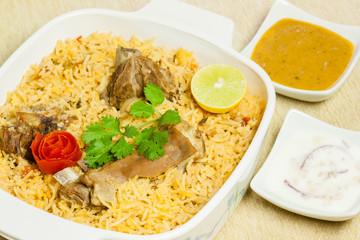 Mutton Biryani with Condiments