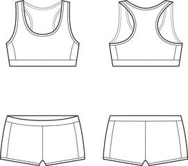 Vector illustration of women's sport underwear. Bra and shorts