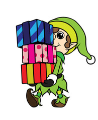 Christmas Elf Boy Carrying Pile of Gift