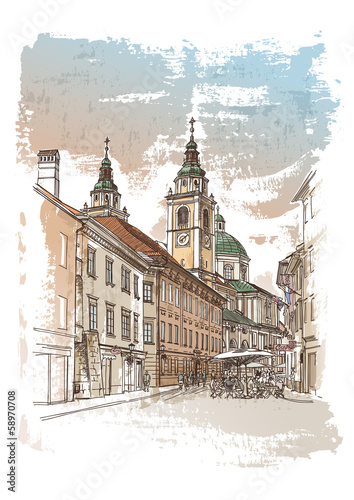 Vector drawing of central street of Ljubljana
