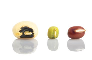 Black eyed peas, mung bean, azuki bean in close up view.
