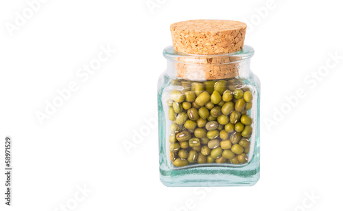 Mung beans in a corked bottle