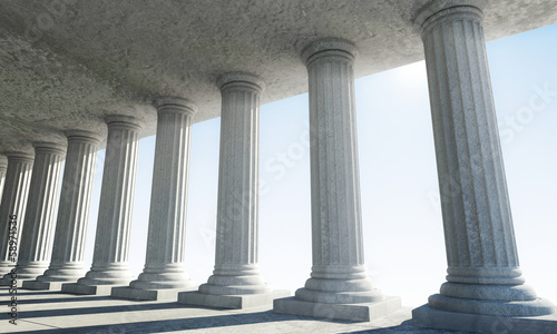 Classic Ancient Interior with sun rays breaking through a column