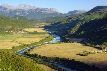 Mountain And River Landscape In Albania