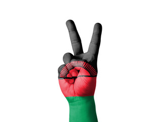 Hand making the V sign, Malawi  flag painted