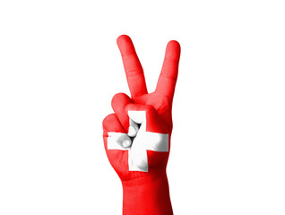 Hand making the V sign, Switzerland flag painted