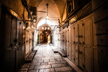 Ancient Alley in Jewish Quarter, Jerusalem, Israel.