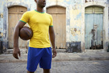 Brazilian Football Player Soccer Holding Ball Village Street