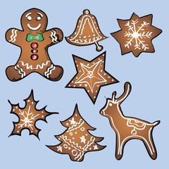Gingerbread set with blue background. Vector