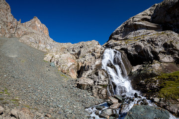 Waterfall in Tien Shan mountains
