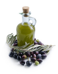 Isolated virgin oil bottle and olives