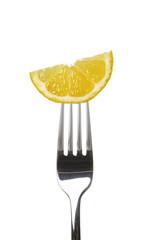 Zitrone auf Gabel