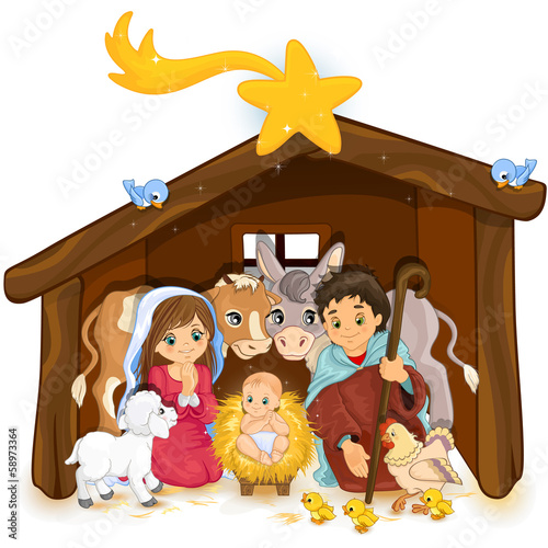 Holy family in a hut