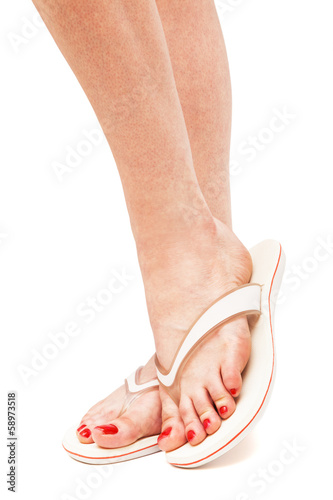 female foot in flip-flop