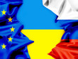 Flags of Ukraine, the European Union and Russia. Conflict.