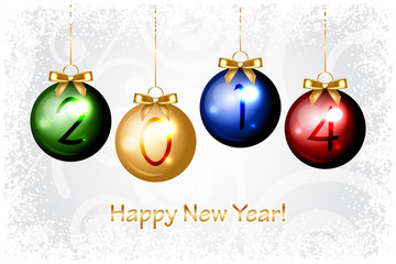 Vector 2014 Happy New Year background with colorful christmas ba
