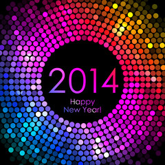 Vector - Happy New Year 2014 - colorful disco lights background