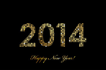 Vector 2014 Happy New Year gold glowing