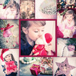 Cristmas collage with cute girl (4 years). Vintage style