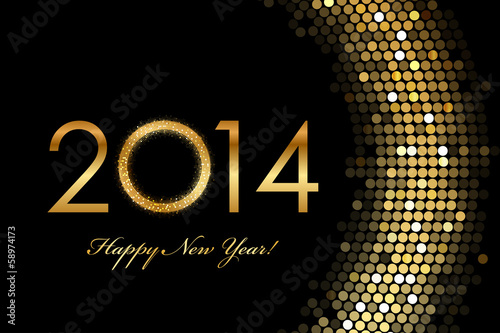 Vector - 2014 Happy New Year 2014 golden glowing