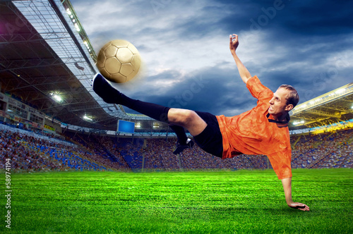 Staande foto Voetbal Football player on field of stadium