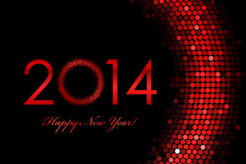 Vector 2014 Happy New Year red background