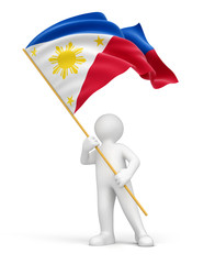 Man and Philippine flag (clipping path included)