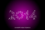 Vector 2014 purple background with sparkles