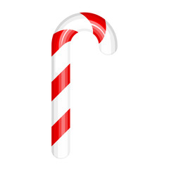 Vector illustration of red and white candy cane