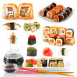 Tasty sushi collage isolated on white
