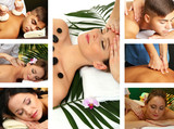 Collage of healthy massage and spa