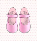 Fashionable  pink shoes for little girls .