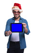 santa man showing the blank screen of a tablet