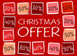 christmas offer and percentages in squares - retro red label