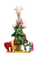 Handmade soft toy isolated New Year tree and giraffe and two pon