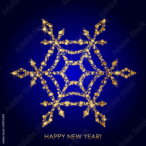 Vector illustration of snowflake from gold sequins