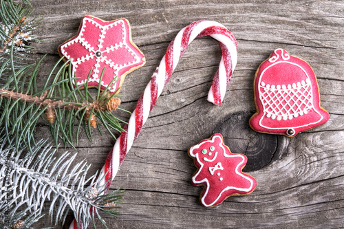 Christmas cookies lollipop and gingerbread