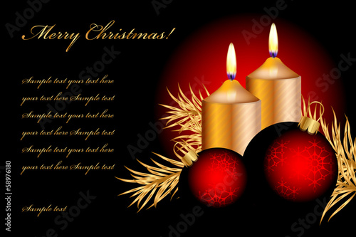 Vector christmas background with candles