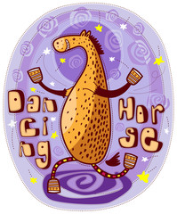 Dancing horse on a purple background with stars and spirals