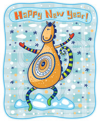 Funny dancing horse congratulates with Happy New Year