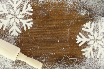 Creative winter time baking background