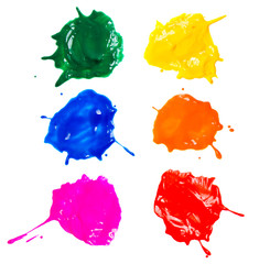 Shot of colored paints splashes blobs isolated