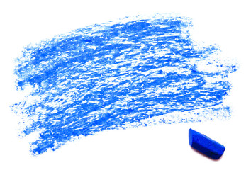 Blue wax crayon isolated on a white