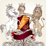 Design with heraldic horses   in vintage style