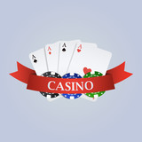 Vector casino illustration with ribbon, playing cards and chips