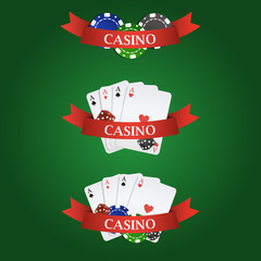 Vector casino elements: ribbon, playing cards, dices and chips