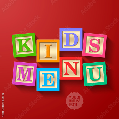 Kids Menu cover - wooden blocks