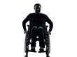 handicapped man in wheelchair smiling friendly silhouette