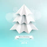 Vector christmas tree. Origami.