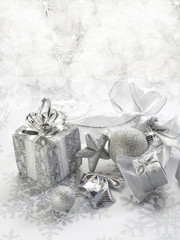 silver christmas background with blur effect